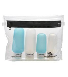 Silicone Bottle Set in Clear/Aqua