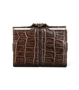 Cript Mini Wallet - 3.55 STEEL crocodile brown